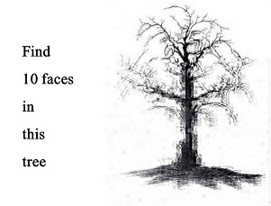 find 10 faces in tis tree